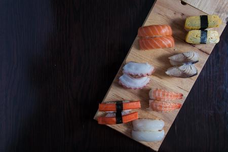 Sushi set on wood