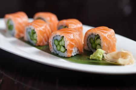 Salmon sushi roll Stock Photo
