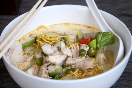 popular soup: Delicious green pork curry for Thai popular soup for food background