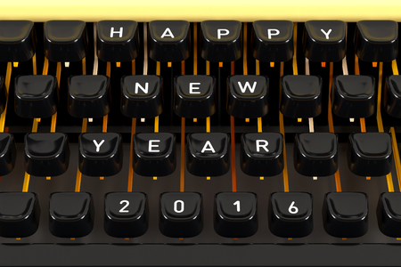 type writer: 2016 happy new year on type writer 3d render Stock Photo