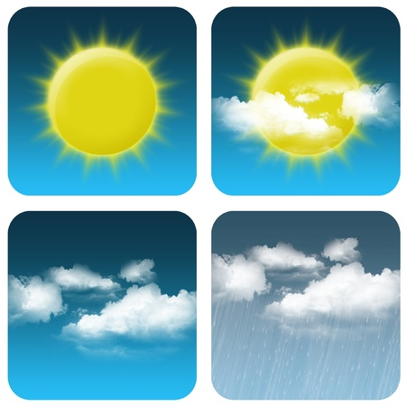 天気アイコン: 太陽、曇り小さな曇り大きなと雨 写真素材