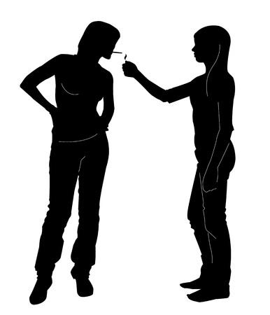 women smoking: Dos se�oritas. Uno de ellos es el tabaquismo Vectores
