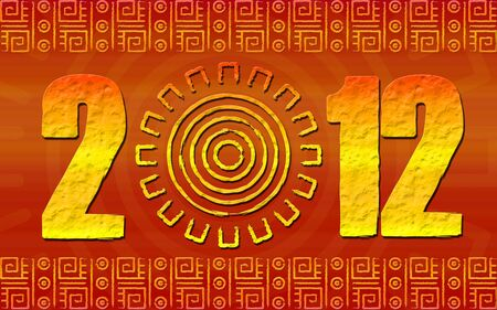 We see art illustration of 2012 year with ancient glyphs maya illustration