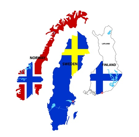 suomi: We see illustration of Isolated maps of Norway, Sweden and Finland Illustration