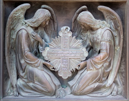 salvation: Bas-reliefs of angels on the door of Cathedral in st. Petersburg, Russia