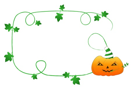 13th: Halloween frame with orange funny pumpkin and green rod Illustration