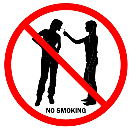 women smoking: Sign NO SMOKING with two young ladies in red round
