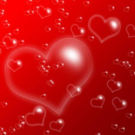 jabon liquido: Vemos muchas burbujas de tamaño del corazón diferente sobre fondo rojo Foto de archivo