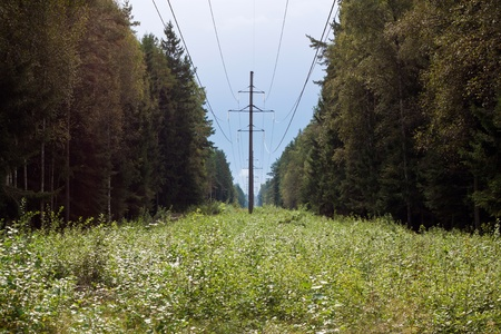 A Overhead power line in the countryside photo