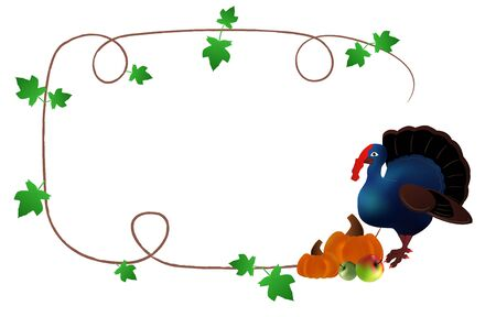 pilgrims: Thanksgiving days frame with turkey, pumpkins and green rod
