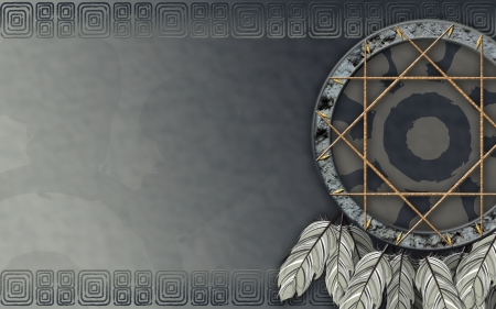 dreamcatcher: We see illustration of a Native American dreamcatcher Stock Photo