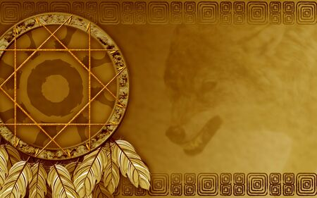 american indian: We see illustration of a Native American dreamcatcher Stock Photo