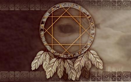 atrapasueños: Vemos la ilustración de un cazador de sueños del nativo americano