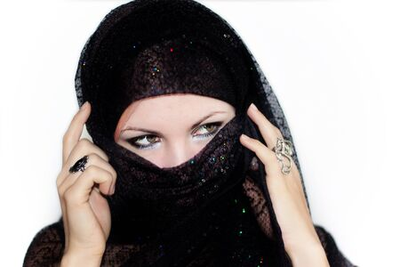 burka: we see Muslim Veiled Woman With A Burqa