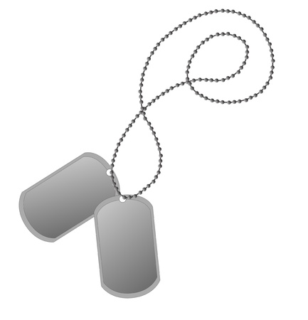 We see two vector dog tags on a chain.