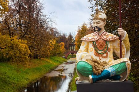 selo: Statue on Big Chinese Bridge in Alexander`s park in Tsarskoye Selo (Pushkin) Saint-Petersburg, Russia