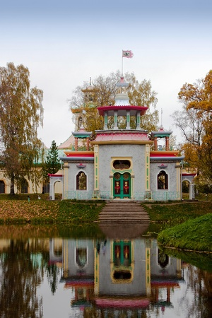 selo: Pavilion in Chinese style in Tsarskoe Selo, Russia, autumn