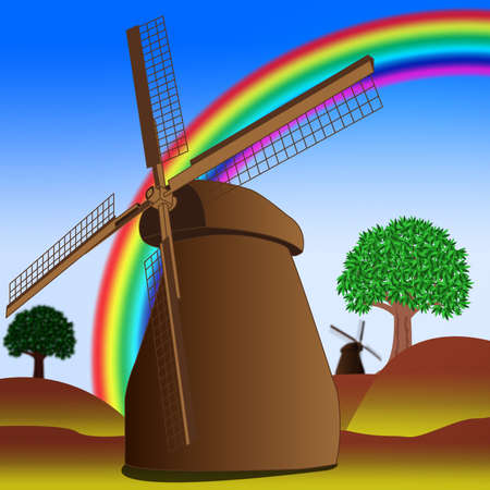 Vector image of windmill and rainbow photo