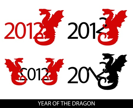 image of 4 variations with year 2012 and dragon Stock Vector - 10918685