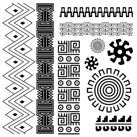 image of ancient american pattern on white Vector