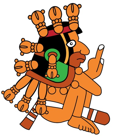mesoamerican:  warrior in style of the Maya Illustration