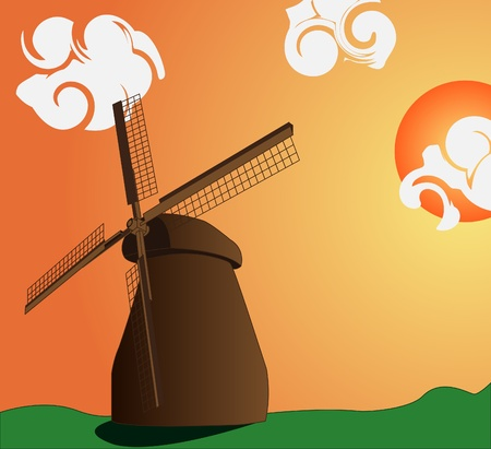 horizont: Vector image of the mill and sunset with clouds