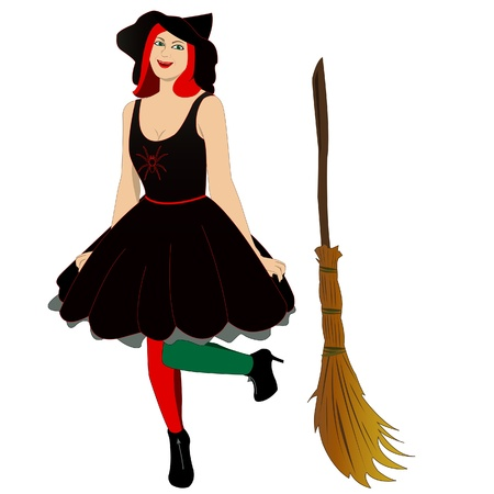 broom: image of beautiful sexy witch with broom Illustration