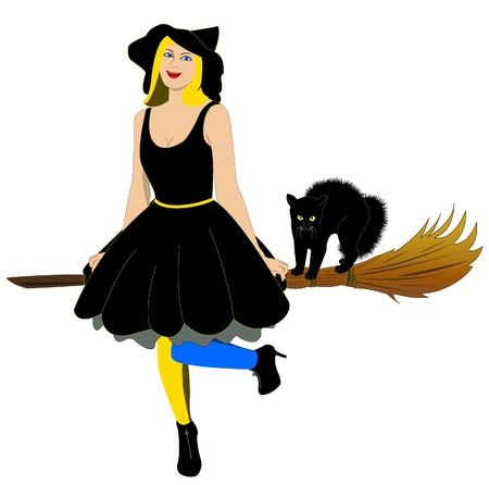Beautiful witch on a broom with black cat Vector