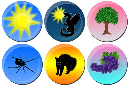 Six different icons with animals, nature and sun photo