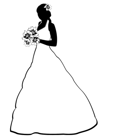 nude bride: Vector image of bride silhouette with flowers on white