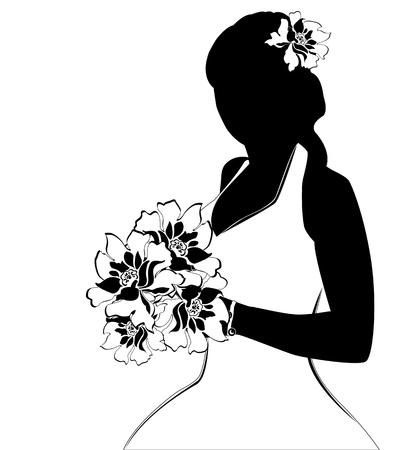 白の花嫁のシルエットのベクター画像  イラスト・ベクター素材