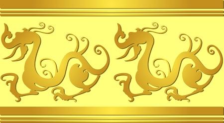 古代中国のドラゴン パターンのベクトル画像