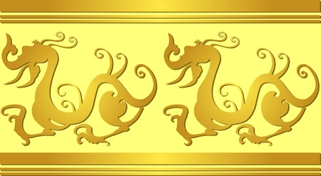 Vector image of ancient pattern with chinese dragons