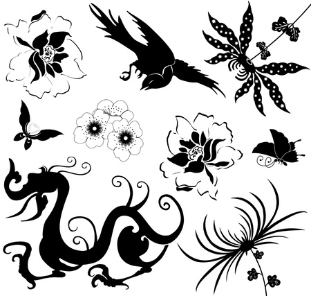 Vector image of chinese design elements on white Illustration