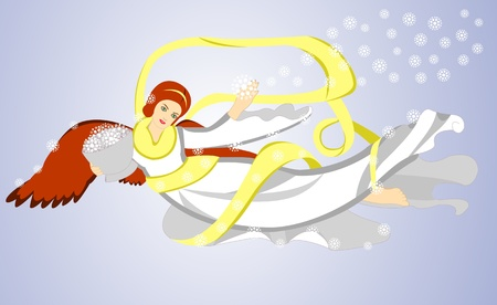 archangel: Vector image of flying christmas angel with basket with snow Illustration