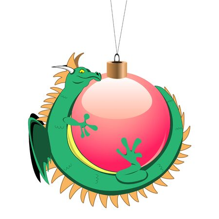 christmas dragon: Vector image of tiny dragon around christmas ball Illustration