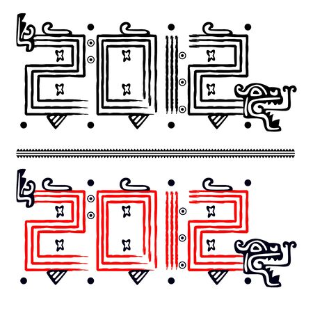 Vector image of Dragon making 2012 in mayan style Illustration
