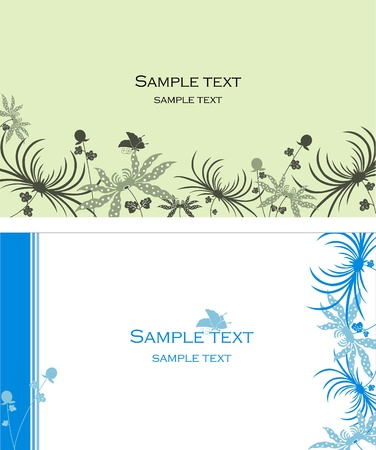 Some vector visit cards with flowers Vector