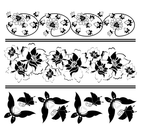 japanese garden: Vector image of some chinese design elements on white