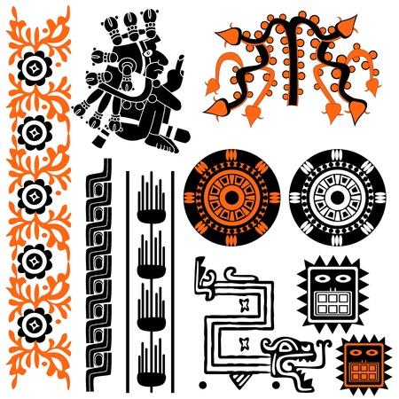 rituales: Vector de imagen de los antiguos patrones americanos en blanco