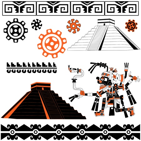 Image of ancient american patterns with ornaments and pyramids Vector