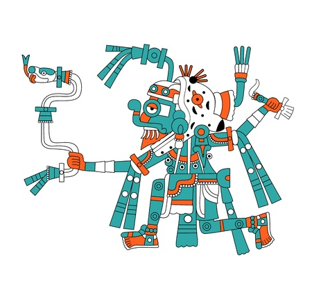 Vector image of Mayan god of rain Tlaloc Illustration