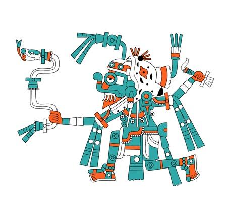 Vector image of Mayan god of rain Tlaloc 向量圖像
