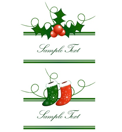 giving gift: Vector borders horizontal from Christmas socks and european holly