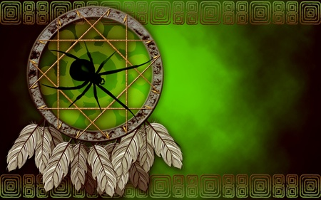 Native American dreamcatcher with spider Stock Photo
