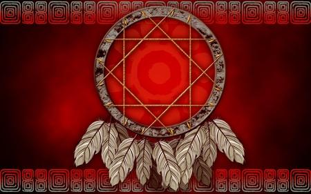 El cazador de sueños americanos nativos sobre fondo rojo