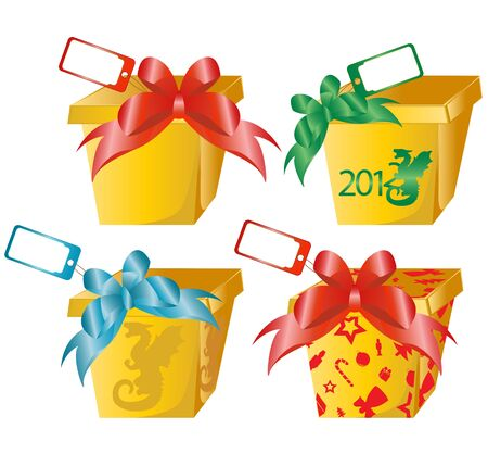 4 vector gift boxes with color bows Vector