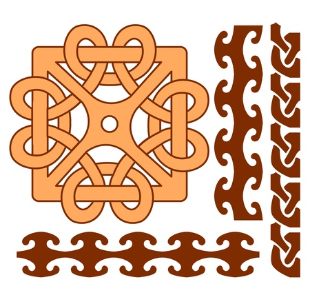 Vector elements of celtic ornaments on white