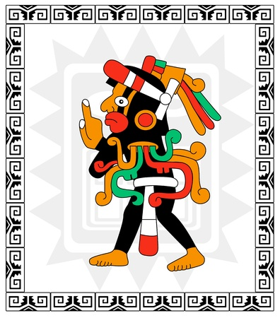 Vector warrior in style of the Maya on white