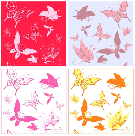 4 vector different butterfly patterns Vector